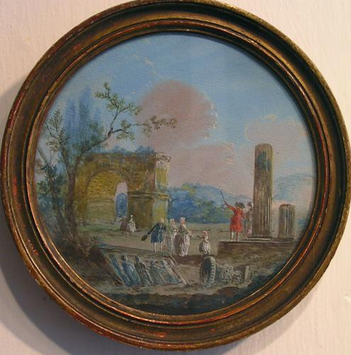 Landscape with ancient ruins and Grand Tourists