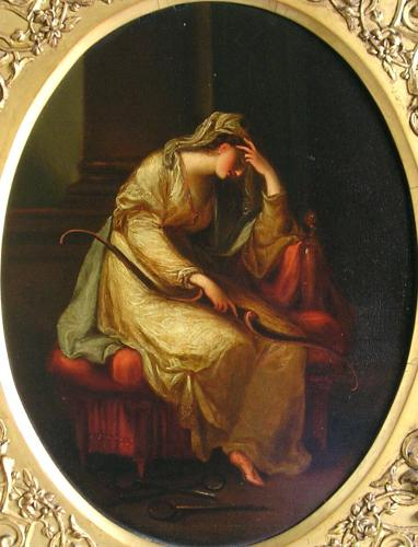 Penelope weeping over the bow of Odysseus