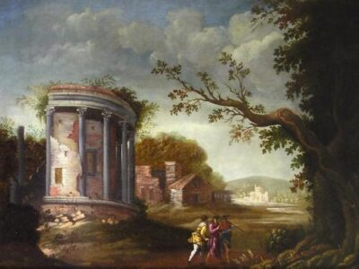 An Italianate Landscape with Classical Ruins and Figures