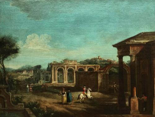 A Pair of Capriccio Landscapes with Figures and Ruins