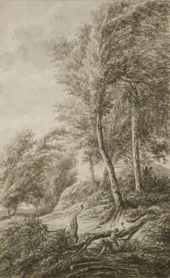 Woodcutters working at the edge of a forest, a town beyond